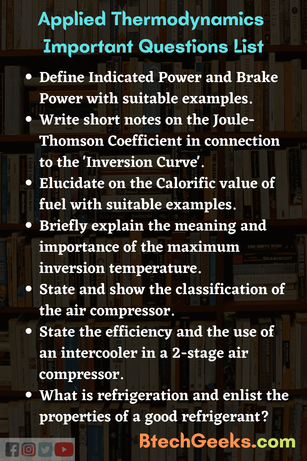 Applied Thermodynamics Important Questions