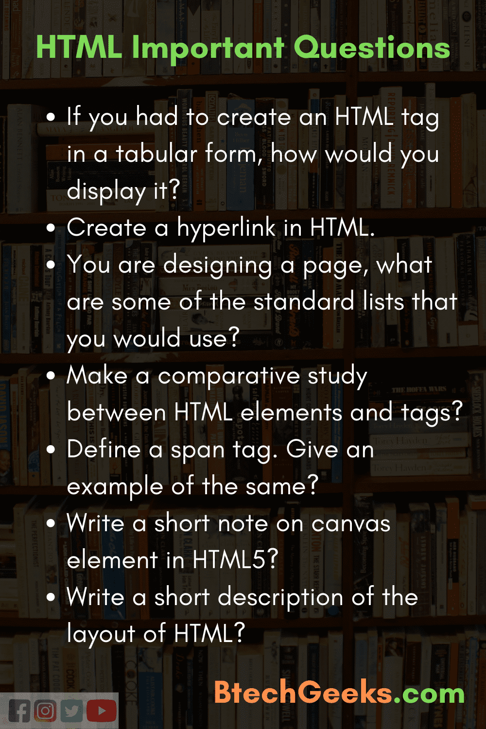 HTML Important Questions