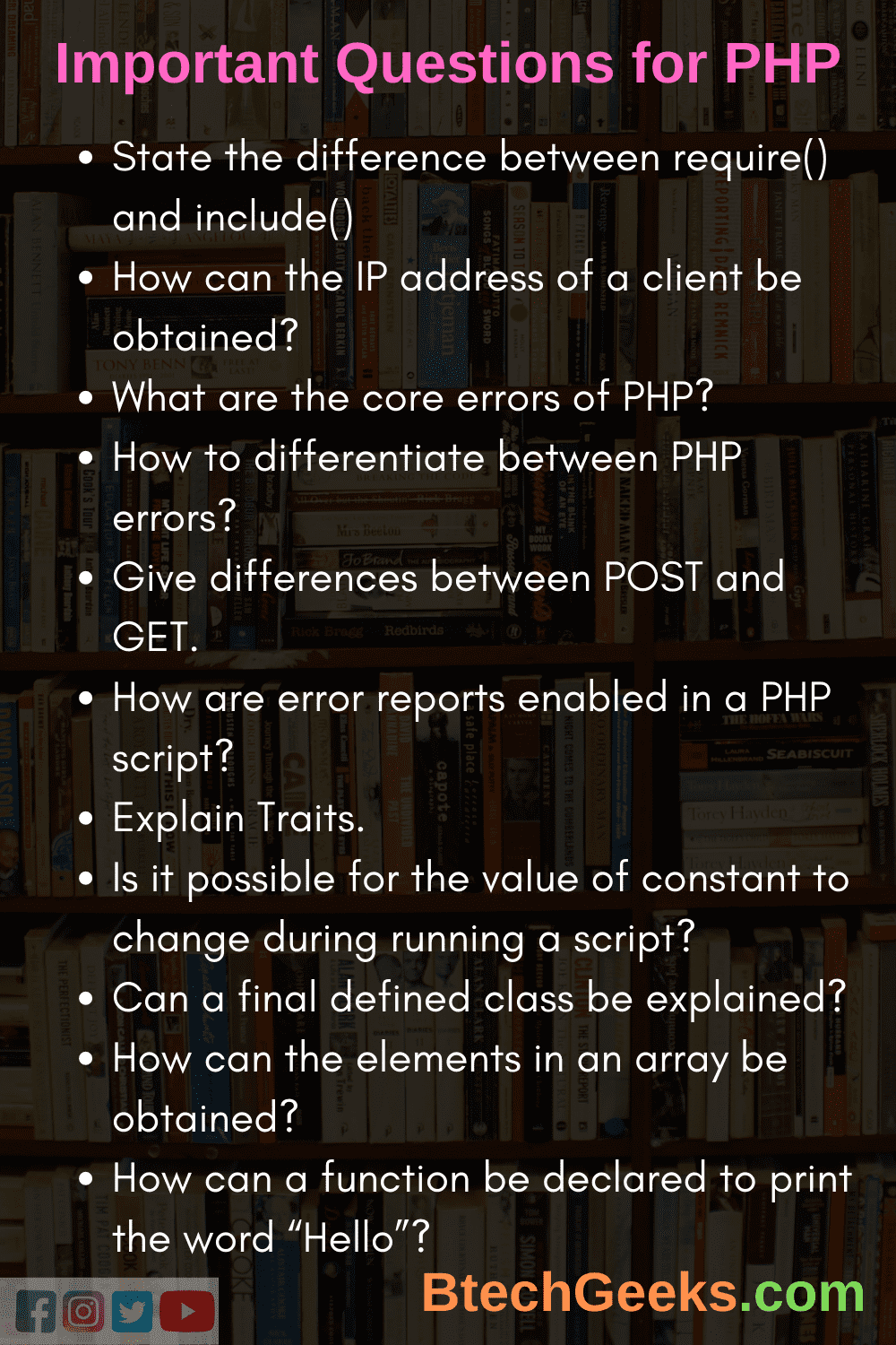 Important Questions for PHP