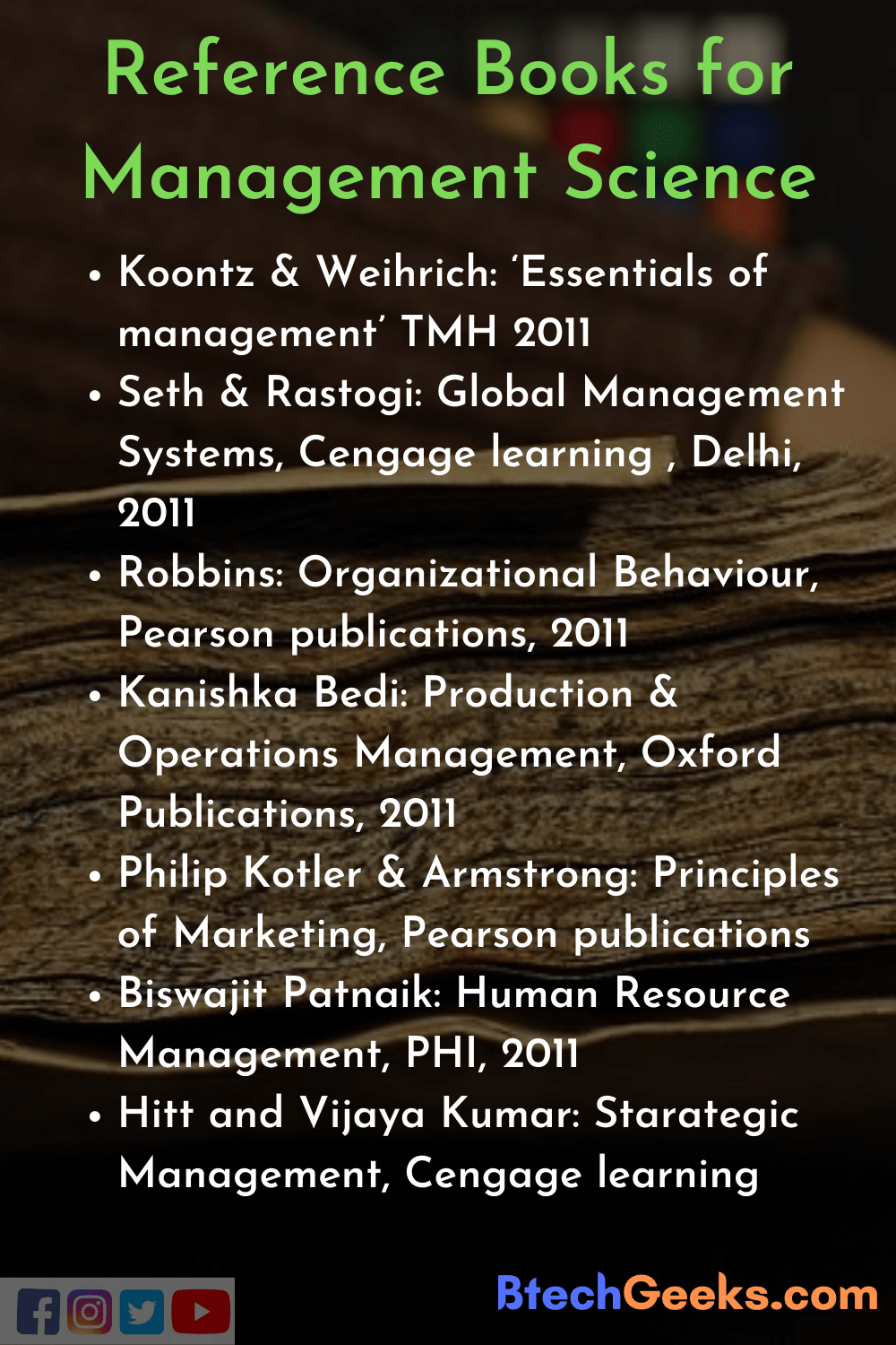 List of MS Reference Books