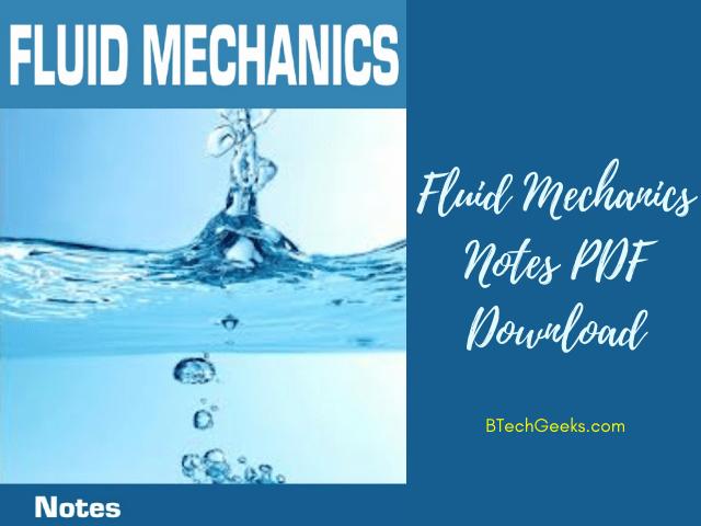 fluid mechanics study notes pdf
