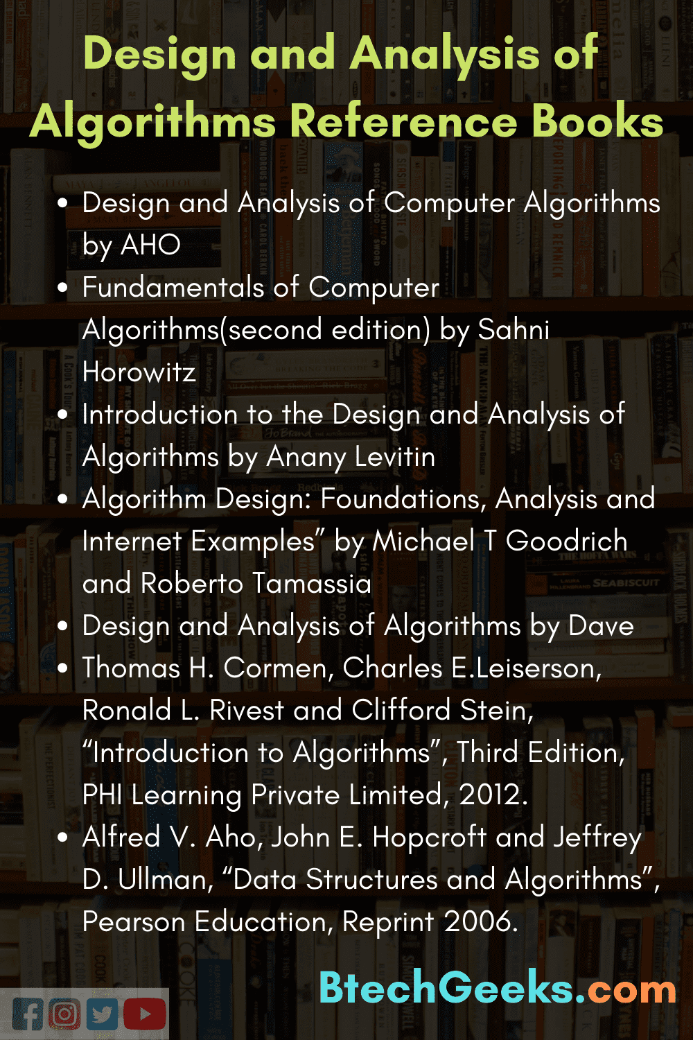 Design and Analysis of Algorithms Reference Books
