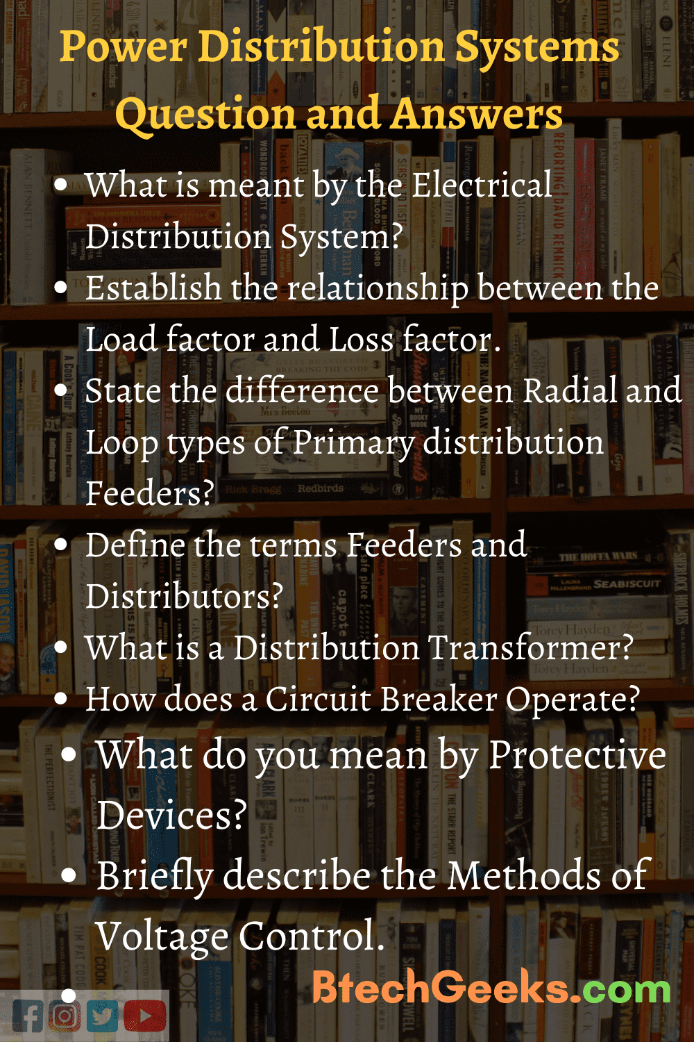 Electrical Distribution Systems Important Questions and Answers