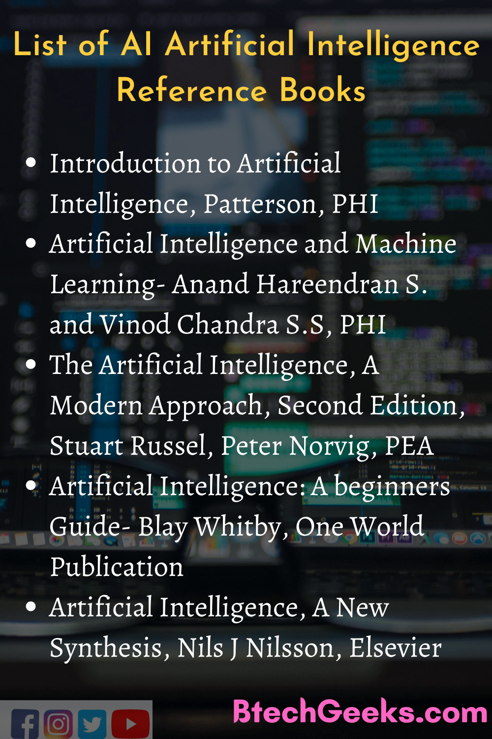 List of AI Artificial Intelligence Reference Books
