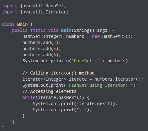 Access Java HashSet Example Program