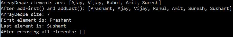 ArrayDeque in Java with Example 2