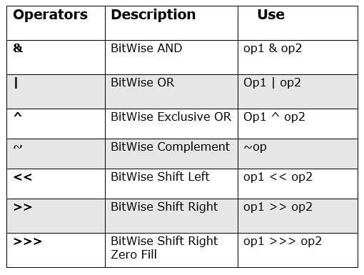 BitWise Operators in Java with Example 1