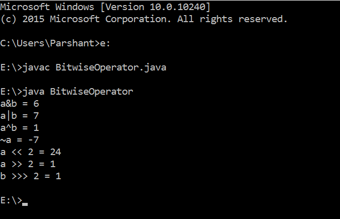 BitWise Operators in Java with Example 2