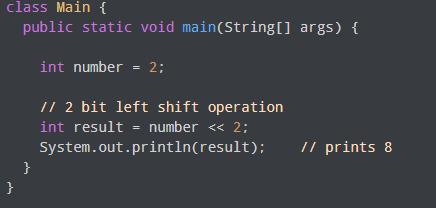 Bitwise Left Shift Operator Example
