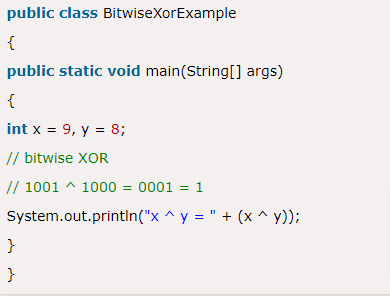 Bitwise XOR Operator Example