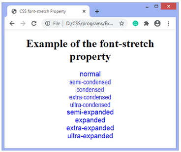 CSS font-stretch property example output