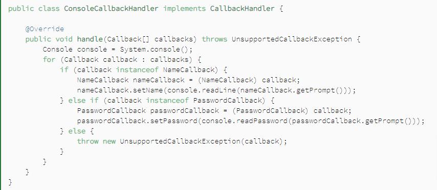 CallBack Handler Interface Implementation