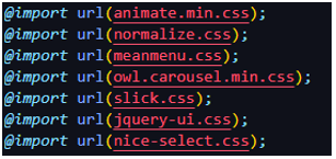 Change the CSS import module by using link CSS tags inside the HTML document