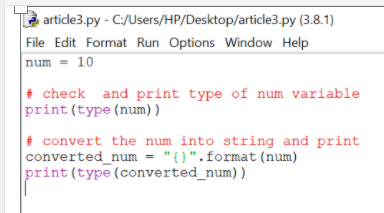 Convert Integer to String in Python Using format function