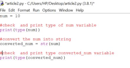 Convert Integer to String in Python Using str() function