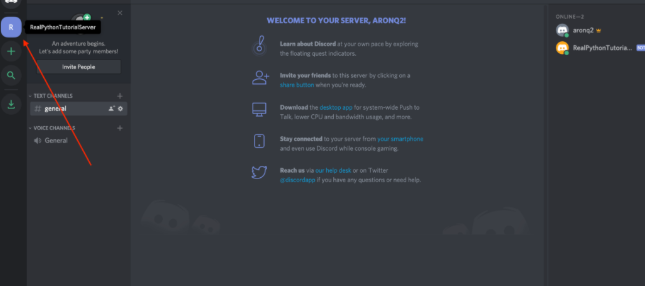 Creating-a-Discord-navigate-to-server