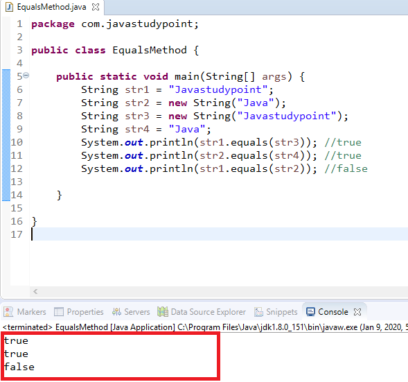 How to compare two Strings in Java using equals() Method 1