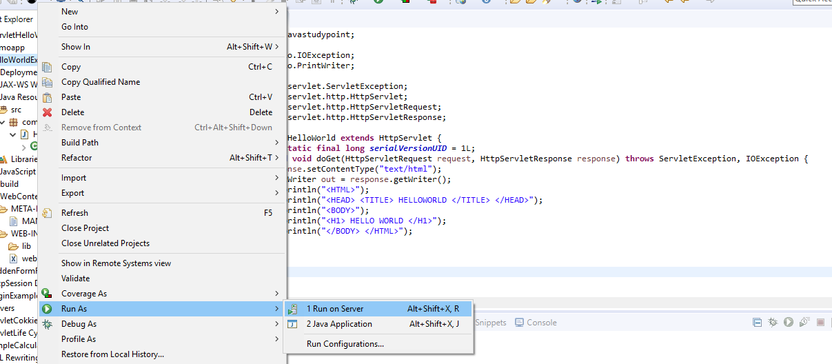 How to create Hello World Servlet example using eclipse IDE with Tomcat 7 12