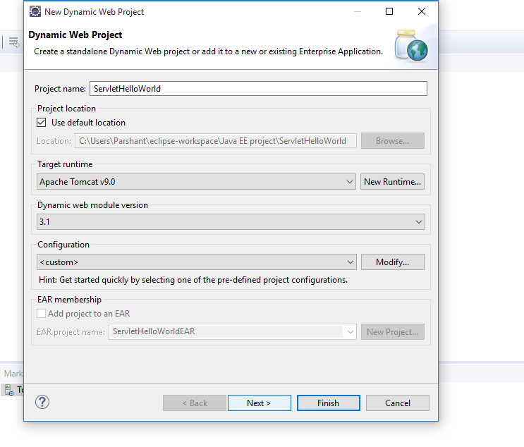 How to create Hello World Servlet example using eclipse IDE with Tomcat 7 2