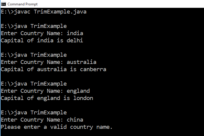 How to remove leading and trailing whitespaces from String in Java 1