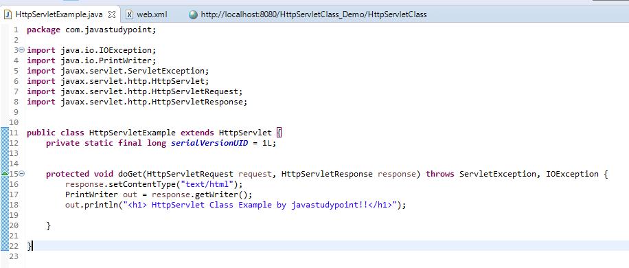 HttpServlet Class in Servlet explained with example 1