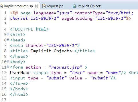JSP Implicit Objects 9 Implicit Objects in JSP 1