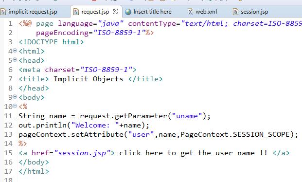 JSP Implicit Objects 9 Implicit Objects in JSP 8