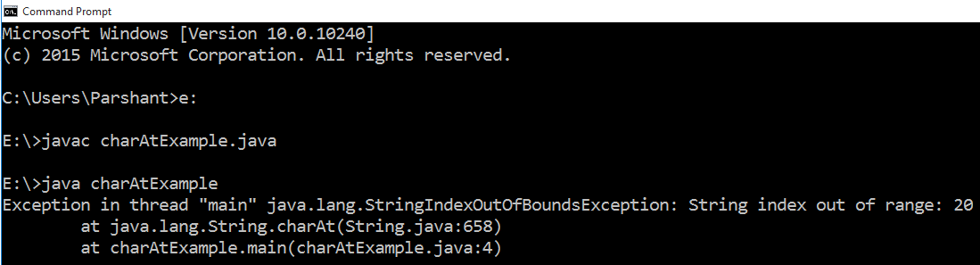 Java String Class charAt() Method with Example 1