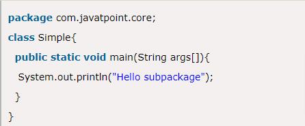 Java SubPackage Example Program