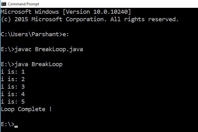 Java break statement with Example 2