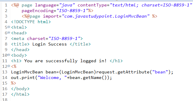 MVC Architecture in JSP with Example 5
