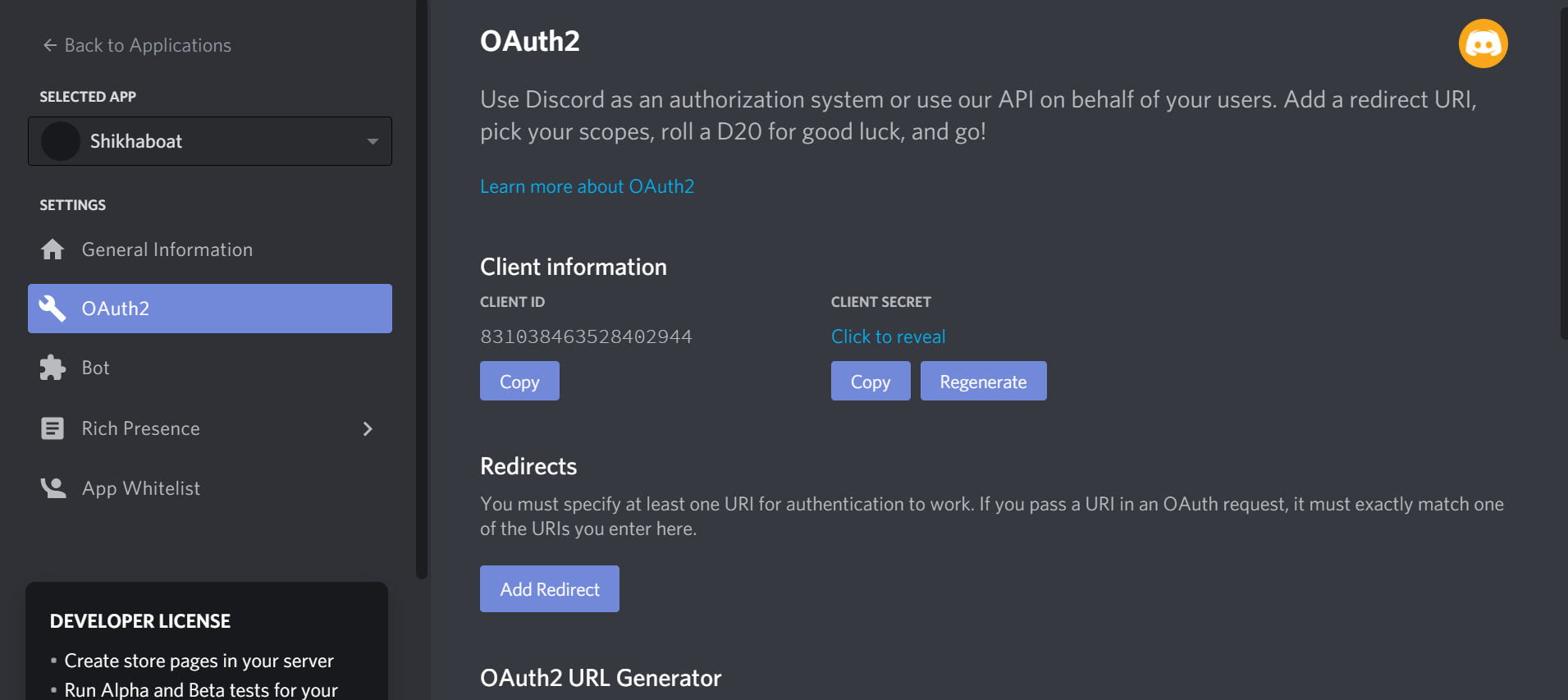 Add your bot using the OAuth2 protocol.