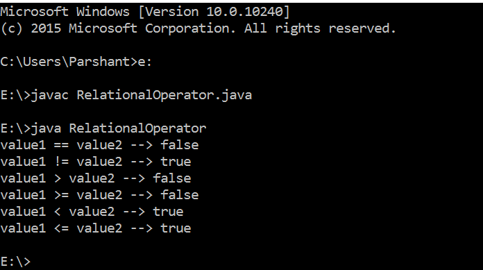 Relational Operators in Java with Example 2