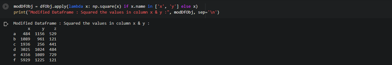 function to a certain columns in Dataframe