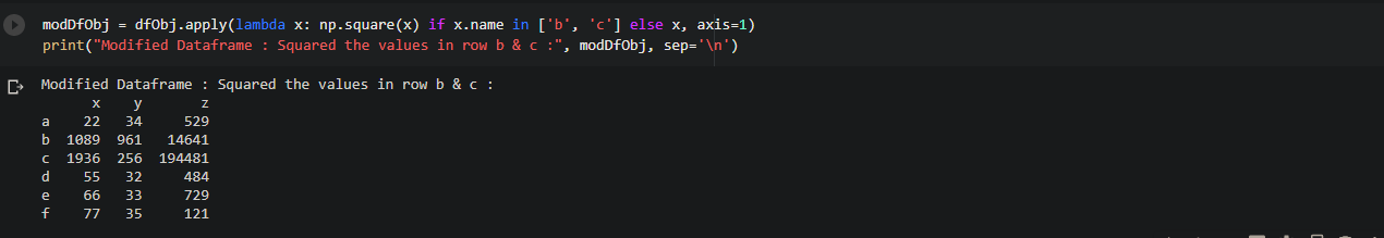 function to a certain rows in Dataframe