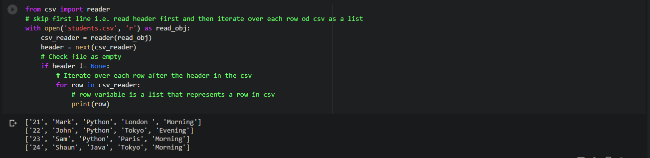 Read csv file without header