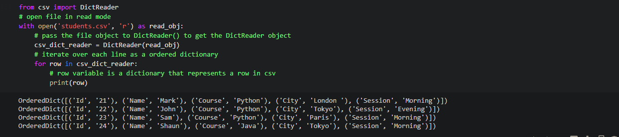 Read csv file line by line using csv module DictReader object