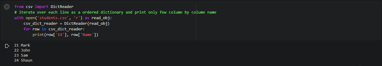 Read specific columns (by column name) in a csv file while iterating row by row