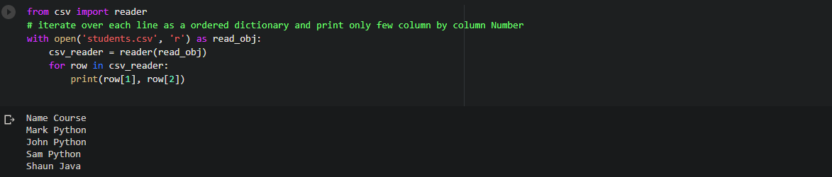 Read specific columns (by column Number) in a csv file while iterating row by row