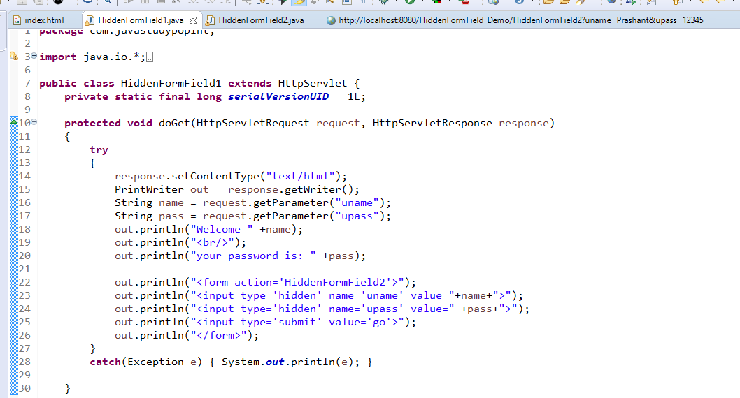 Session Management Using Hidden Form Field in Servlet with Example 2