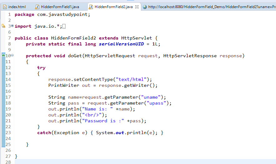 Session Management Using Hidden Form Field in Servlet with Example 3
