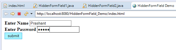 Session Management Using Hidden Form Field in Servlet with Example 5