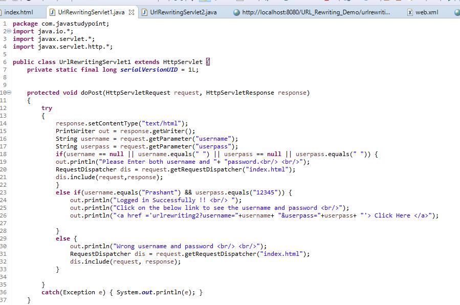 Session Management Using URL Rewriting in Servlet 2