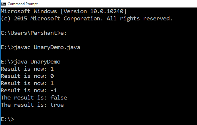 Unary Operators in Java with Example 2