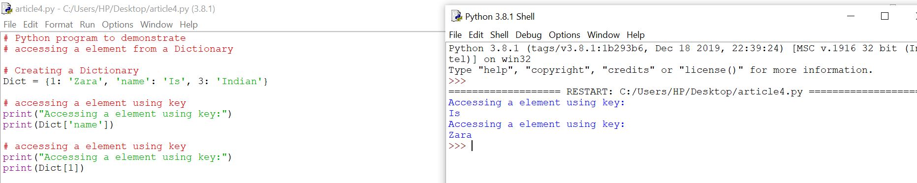 Accessing elements from a Dictionary