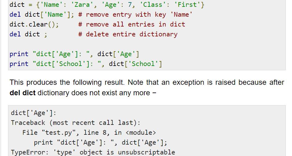 Delete Dictionary Elements