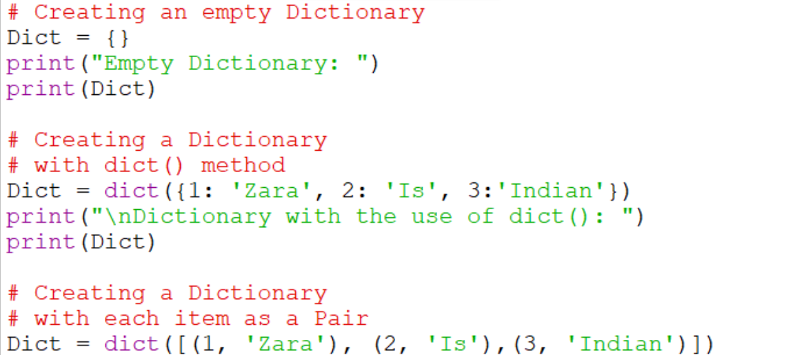 Using built-in function dict()