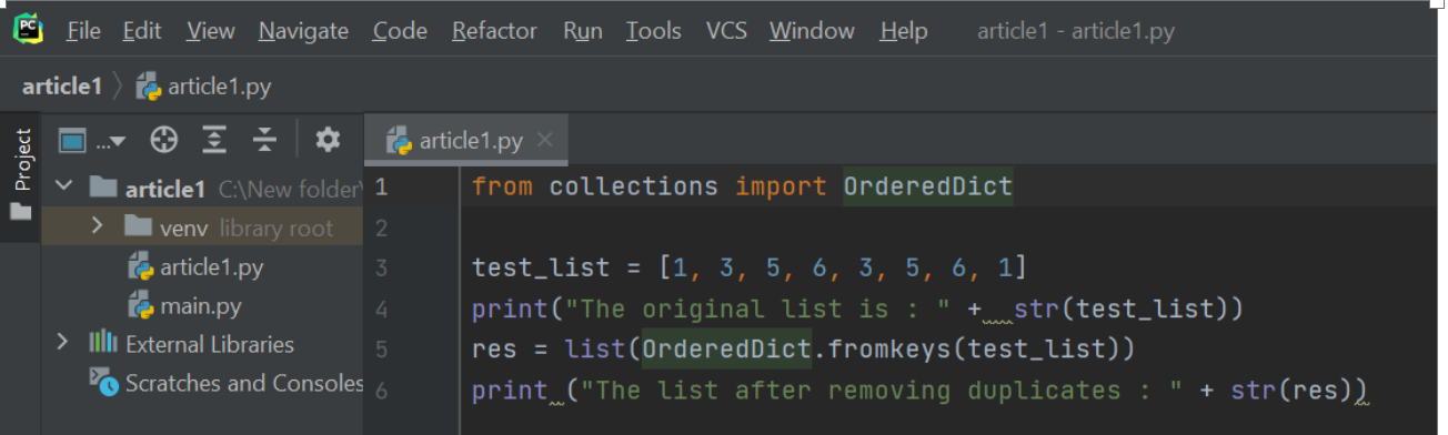 Using collections.OrderedDict.fromkeys()