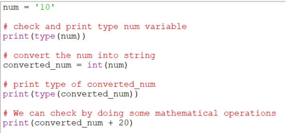 Using int() function