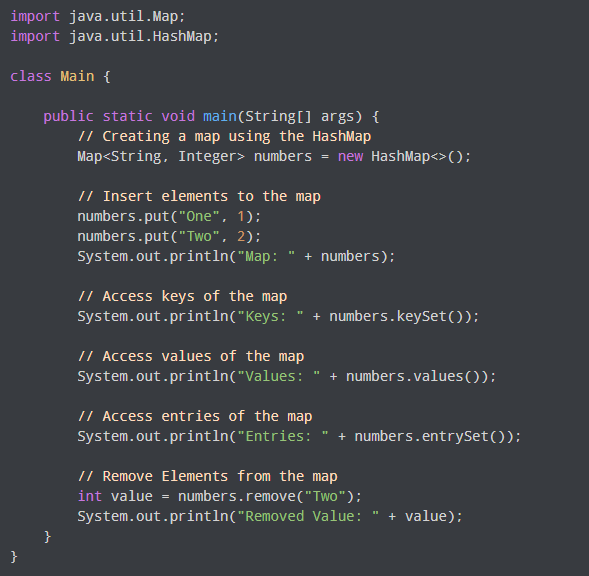 implementation of hashmap example